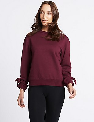 Tie Cuff Round Neck Long Sleeve Sweatshirt, BERRY, catlanding