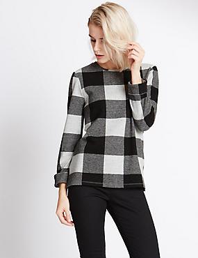 Geborsteld sweatshirt met lange mouwen en ruitmotief, WIT/ZWART, catlanding