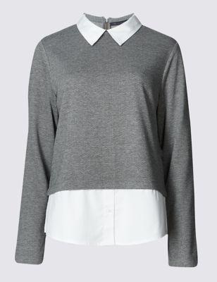 Текстурный трикотажный топ с низом и воротником-рубашкой M&S Collection T417184M