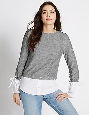Pure Cotton Flare Cuff Striped T-Shirt, GREY MIX, catlanding