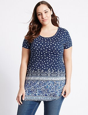 PLUS Border Print Short Sleeve Tunic, NAVY MIX, catlanding