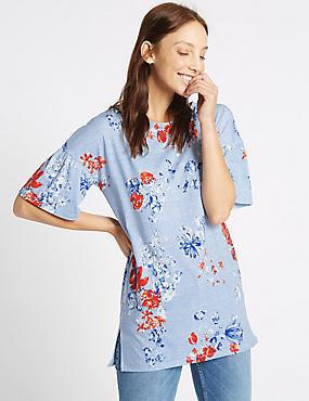 Floral Print Round Neck Half Sleeve Tunic, BLUE MIX, catlanding