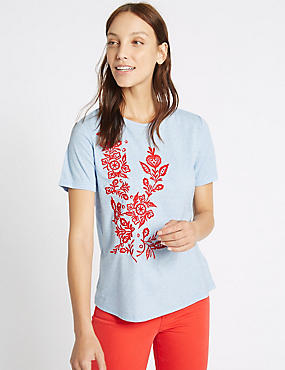 Embroidered Round Neck Short Sleeve T-Shirt, BLUE MIX, catlanding