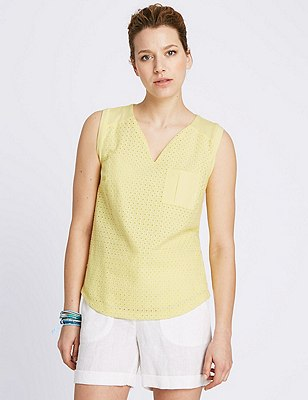 Pure Cotton Broderie Front Top, YELLOW, catlanding
