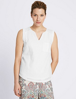 Pure Cotton Broderie Front Top, WHITE, catlanding