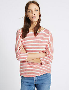 Cotton Rich Striped 3/4 Sleeve T-Shirt, RED MIX, catlanding