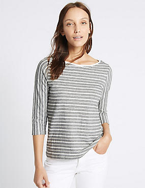Cotton Rich Striped 3/4 Sleeve T-Shirt, IVORY MIX, catlanding