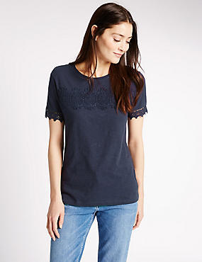 Pure Cotton Lace Detail T-Shirt, NAVY, catlanding
