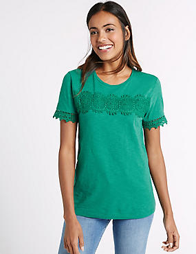 Pure Cotton Short Sleeve T-Shirt, GREEN, catlanding