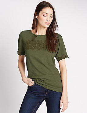 Pure Cotton Short Sleeve T-Shirt, KHAKI, catlanding