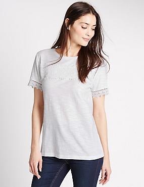 Pure Cotton Short Sleeve T-Shirt, SOFT WHITE, catlanding