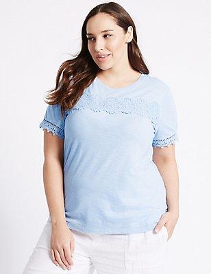 PLUS Pure Cotton Short Sleeve Lace T-Shirt, CORNFLOWER, catlanding