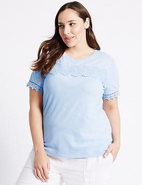 PLUS Pure Cotton Lace Short Sleeve T-Shirt, CORNFLOWER, catlanding