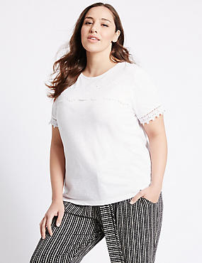 PLUS Pure Cotton Lace Short Sleeve T-Shirt, SOFT WHITE, catlanding