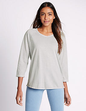 Pure Cotton 3/4 Sleeve T-Shirt, GREY, catlanding