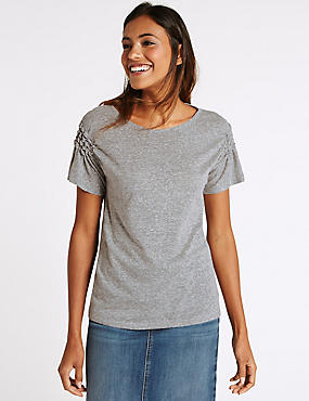 Cotton Blend Ruched Sleeve Jersey Top, GREY, catlanding
