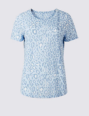 Animal Print Short Sleeve T-Shirt, GREY MIX, catlanding