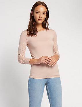 Long Sleeve Jersey Top, BLUSH PINK, catlanding