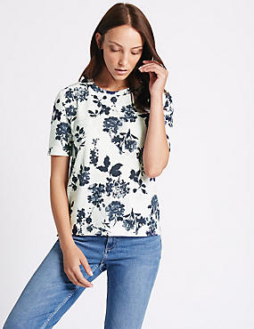 Floral Textured Short Sleeve Top, IVORY MIX, catlanding