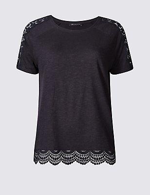T-shirt 100% coton, orné de dentelle, BLEU MARINE, catlanding