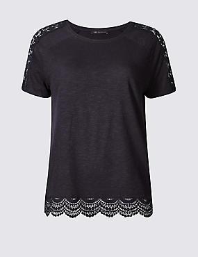 Pure Cotton Lace Detail T-Shirt, NAVY, catlanding