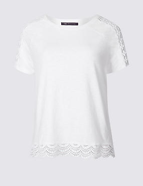 Pure Cotton Lace Detail T-Shirt, SOFT WHITE, catlanding