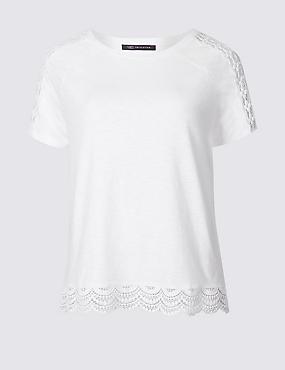 Pure Cotton Lace Detail T-Shirt, SOFT WHITE, catlanding