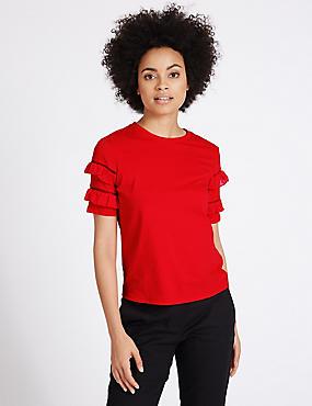 Pure Cotton Ruffle Short Sleeve T-Shirt, RED, catlanding