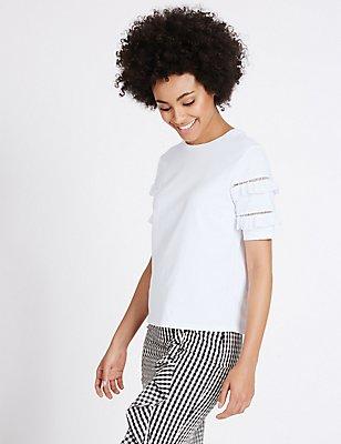 Pure Cotton Ruffle Short Sleeve T-Shirt, IVORY, catlanding