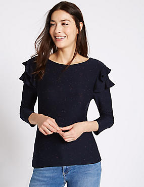 Ruffle Slash Neck 3/4 Sleeve Jersey Top, NAVY MIX, catlanding