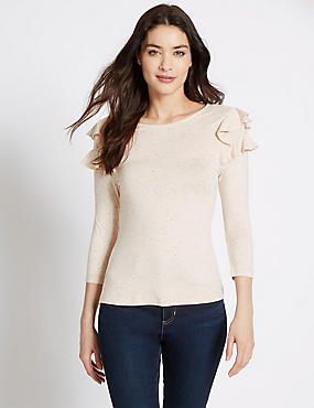 Ruffle Slash Neck 3/4 Sleeve Jersey Top, NATURAL MIX, catlanding