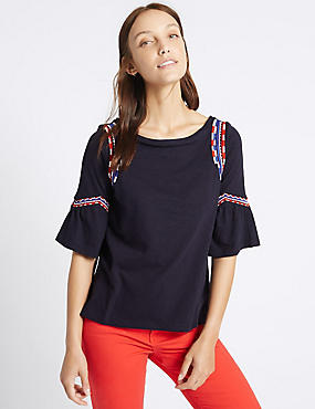Pure Cotton Embroidered Gypsy Top, NAVY, catlanding