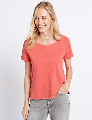 Pure Cotton Round Neck Short Sleeve T-Shirt, RED, catlanding