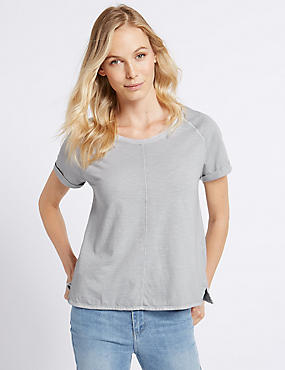 Pure Cotton Round Neck Short Sleeve T-Shirt, GREY, catlanding