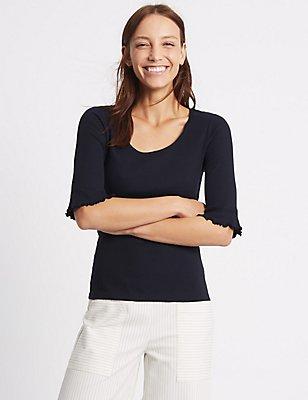T-Shirt aus reiner Baumwolle mit gewellten Ärmeln , MARINEBLAU, catlanding