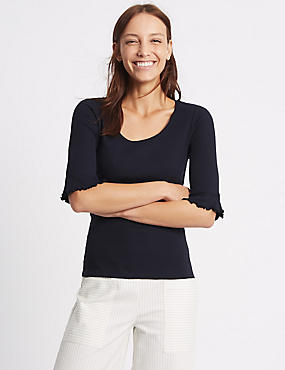 Pure Cotton Ribbed Flute Sleeve T-Shirt , NAVY, catlanding