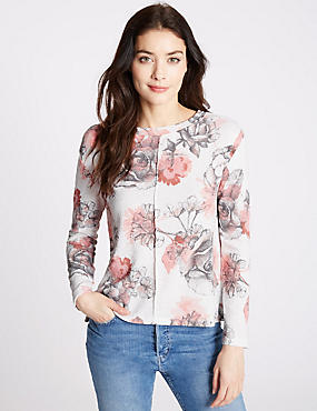 Floral Print Long Sleeve Jersey Top, IVORY MIX, catlanding
