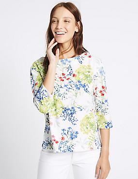 Floral Print 3/4 Sleeve Sweatshirt, IVORY MIX, catlanding