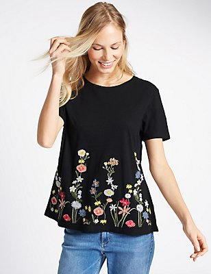 Pure Cotton Floral Embroidered T-Shirt, BLACK MIX, catlanding