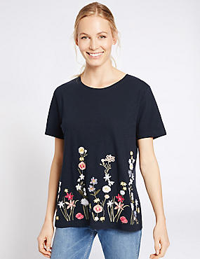 Pure Cotton Border Embroidered T-Shirt , NAVY MIX, catlanding
