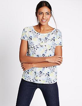 Pure Cotton Floral Print T-Shirt, WHITE MIX, catlanding