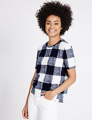 Textured Check Round Neck Short Sleeve Top, NAVY MIX, catlanding