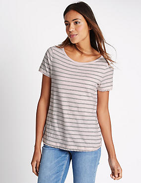 T-shirt 100% coton à manches courtes et rayures, PINK MIX, catlanding