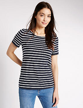 Camiseta 100% algodón de manga corta de rayas, NAVY MIX, catlanding