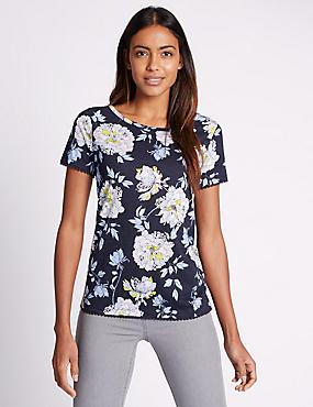 Pure Cotton Floral Print T-Shirt, NAVY MIX, catlanding