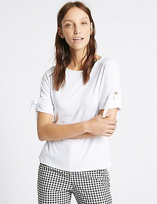 Eyelet Round Neck Short Sleeve T-Shirt, SOFT WHITE, catlanding