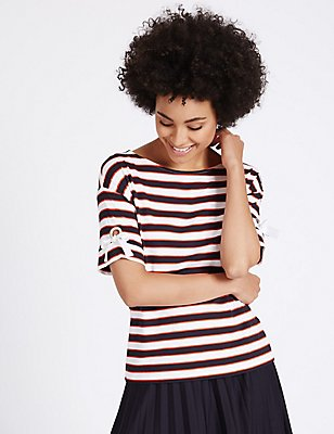 Striped Eyelet Tie Sleeve T-Shirt, RED MIX, catlanding