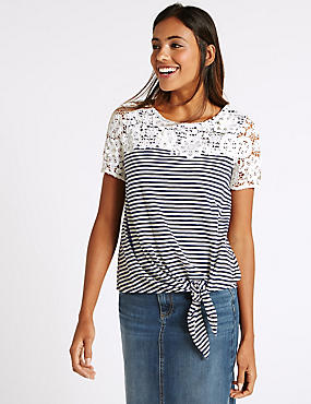 Pure Cotton Striped Tie Side Jersey Top, NAVY MIX, catlanding