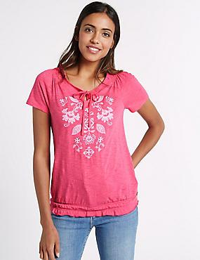 Cotton Rich Striped Tie Detail T-Shirt, PINK MIX, catlanding