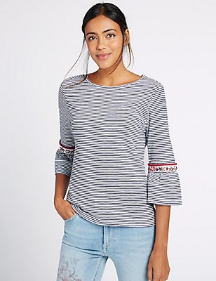 Pure Cotton Striped Flute Cuff Jersey Top, BLUE MIX, catlanding